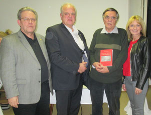 Foto v.l.n.r.:  Moderator GR Mag. Wolfgang Mahrer, Bürgermeister Prim. Dr. Reinhard Resch, Prof. Dr. Hans Hautmann, StRin Eva Hollerer. Foto: zVg