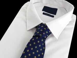 """Corbata seda azul con oro, """"Fleur de Lis"""""""