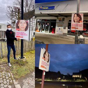 Plakatierung durch Mitglieder der FDP Altenahr in den Ortsgemeinden der Verbandsgemeinde Altenahr