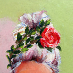 "Original Gemälde Frauenportrait ""Sarah"" 15 x 15 cm"