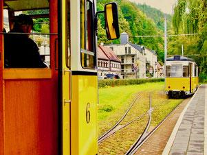 mit der gelben Tram in die Sächsische Schweiz
