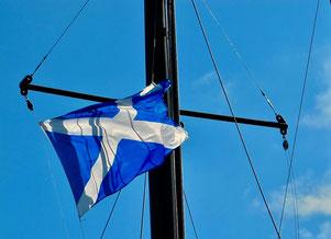 noch einmal grüsste die schottische National-Fahne