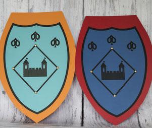 Selbstgebastelte Schilde für den Rittergeburtstag