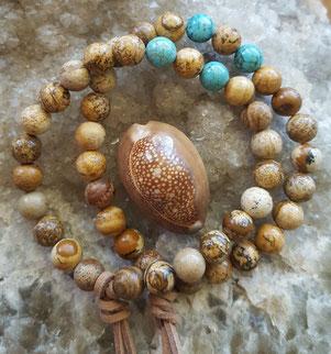 Men's turquoise & jasper gemstone energy bracelets handmade in Noosa Australia