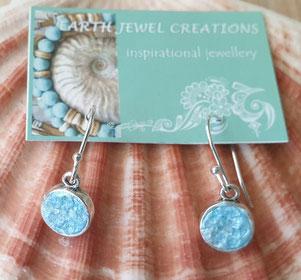 quartz & turquoise earrings handmade in Noosa Australia