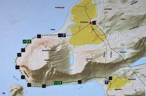 Karte Küstenweg Haukland-Uttakleiv