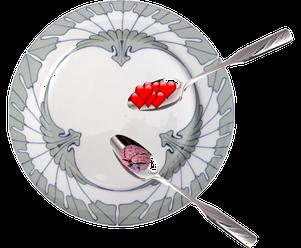 Ein Teller mit zwei Löffeln symbolisiert, dass es auch bei der Therapie auf die richtige Zusammensetzung ankommt.