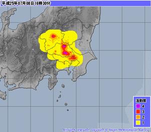 気象庁レーダー・ナウキャスト(降水・雷・竜巻):関東地方午後4時30分 http://www.jma.go.jp/