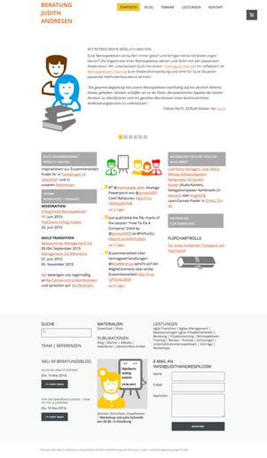 Screenshot der Startseite (16. Mai 2015)