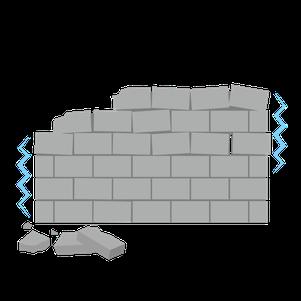 グラグラしていて危ないブロック塀のイラスト