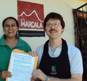 Unterzeichung der Kooperationsvereinbarung mit Zoyla Moreno, DOP Café Marcala, 2012