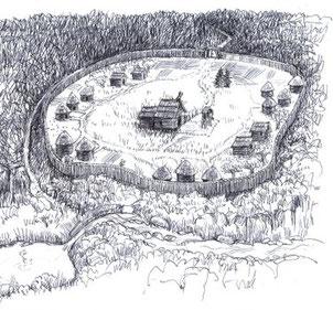 so könnte die erste Klostersiedlung ausgesehen haben