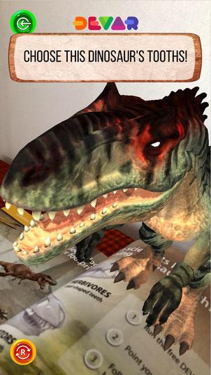 迫力満点のAR恐竜図鑑「DINOSAURS」のゲーム映像