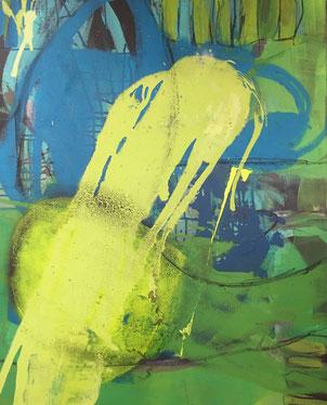 Auf zu neuen Taten, Werk von Ruth Bucher, Acryl-Mischtechnik auf Leinwand