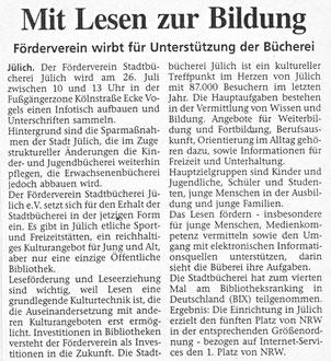 Jülicher Zeitung vom 25. 07. 2003
