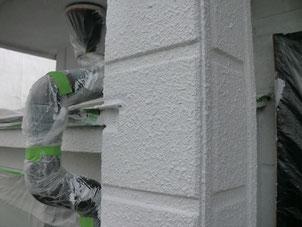外壁リフォーム塗装【柱】下地処理後