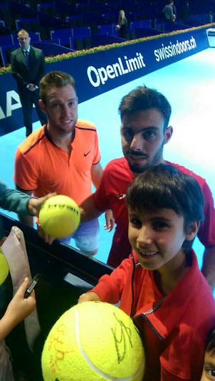 Amir mit den Siegern der Doppelkonkurrenz Marcel Granollers und Jack Sock  beim ATP Turnier in Basel