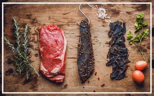 Fabrication biltong, viande bovine, viande séchée