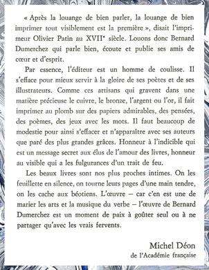 Editions Bernard Dumerchez Déon Académie Française
