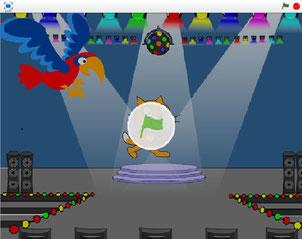 Scratchで初めて作ったアニメーション  (画像をクリック)