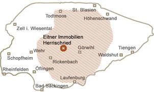 Hotzenwald, Herrischried, Rickenbach, Göhrwil, Wehr, Öflingen, Schopfheim, Lörrach, Rheinfelden, Bad Säckingen, Laufenburg, Waldshut, Tiengen, Höhenschwand, St. Blasien, Todtmoos, Zell im Wiesental