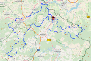 Karte Trans Fichtel Trail 10000 Hm 335 Km