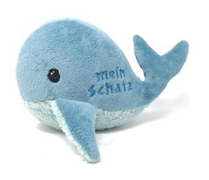 Neues Produkt: Kuscheltier für Spieluhr Wal, in petrol, aus Öko Plüsch, als Geschenk zur Taufe, Geburt, Geburtstag