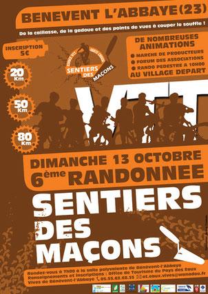 affiche de la rando VTT du sentier des maçons 2013