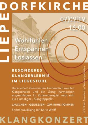 Flyer Veranstaltung Dorfkirche Liepe – Klangkonzert am 07.09.2019, Besonderes Klangerlebnis im Liegestuhl mit Karin Wolff