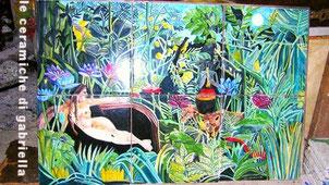 pannello di ceramica omaggio Henri_Rousseau il sogno ottimo inserimento nel bagno