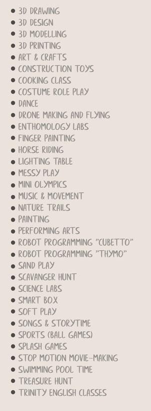 Individualmente e in Gruppo I bambini passano la giornata svolgendo attività all'interno del nostro atelier creativo e all'aria aperta.