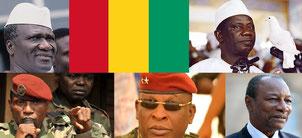 Les Présidents guinéens depuis 1958: Feu Ahmed Sékou Touré (1958-1984)/ Feu Gl. Lansana Conté (1984-2008)/ Capitaine Moussa Dadis Camara (2008-2009)/ Gl. Sékouba Konaté (2009-2010)/ Prof. Alpha Condé, actuel Président de la République (depuis 21/12/2010).