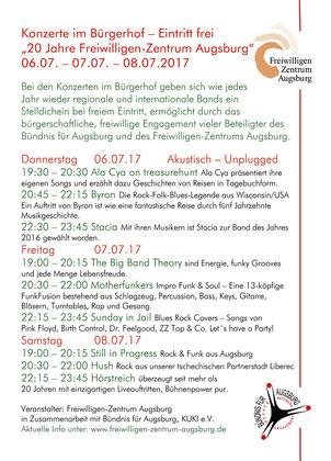 """Konzerte im Bürgerhof 2017 """"20 Jahre Freiwilligen-Zentrum Augsburg"""" 06.07., 07.07. und 08.07.2017"""