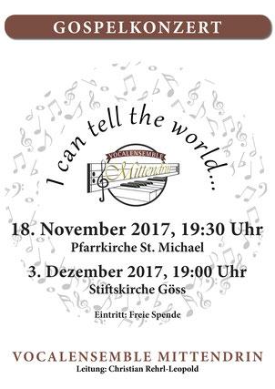 #VocalensembelMittendrin, #Icantelltheworld, Gospelkonzert, Stift Göss, St.Michael, Christian Rehrl, Christian Rehrl-Leopold,