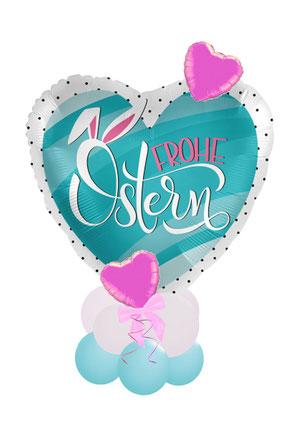 Ballon Folienballon Liebe Ostergrüße Ostern Ballongruß Ballonversand Versand Ballonpost Box Folienballon Überraschung freunde Familie Osterhase Herz rosa gold Versand verschickt Osterpost Frohe Ostern Hasenohren
