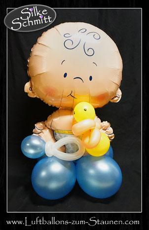 Ballondeko Taufe Baby boy Baby girl Junge  Mädchen Baby-Shower Babyparty Party Geburt Luftballon Ballon Geschenk Hingucker Eyecatcher exklusiv besondere Mitbringsel Versand Geschenk Ente Rassel