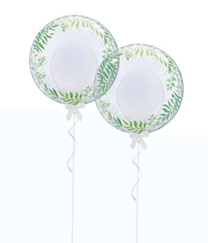 Bubble Ballon Luftballon Heliumballon Hochzeit Polterabend Event Feier Party Palmen Efeu weiß elegant schleife band Palmenblatt Blatt Blätter grün Versand Deko Dekoration Überraschung Mitbringsel Geschenk Brautpaar Braut