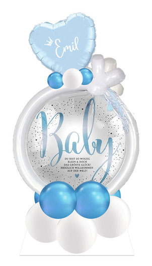 Ballon Luftballon Heliumballon Arrangement Geschenk Mitbringsel Baby Geburt Willkommen Hurra Yippie Mädchen Junge Krone rosa hellblau Herz Helium Versand Box mit Namen personalisiert Personalisierung Du bist so winzig klein das größte Glück Welt Herzlich