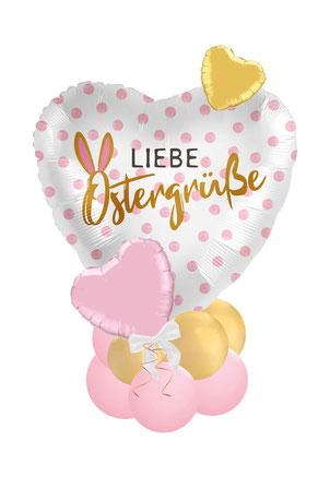 Ballon Folienballon Liebe Ostergrüße Ostern Ballongruß Ballonversand Versand Ballonpost Box Folienballon Überraschung freunde Familie Osterhase Herz rosa gold Versand verschickt Osterpost