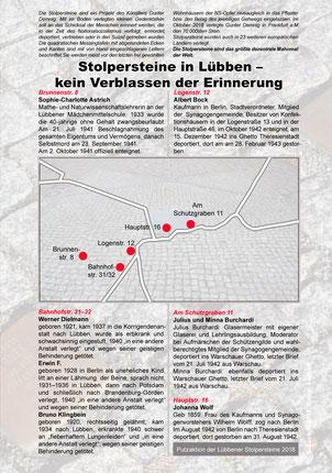 Flyer mit Informationen zu den Lübbener Stolpersteinen