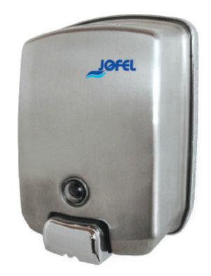 Dosificador/Despachador o dispensador de jabón rellenable AC54000 Color: Inoxidable satinado con base de plástico gris Dimensiones en milímetros: Alto: 200 Largo: 140 Ancho: 100 Capacidad: 1000 ml / 33.81 oz Contenido por caja: 1 pieza