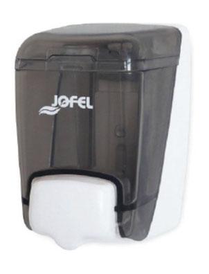 Jabonera rellenable mini AC85000 Color: Transparente con base y pulsador gris Dimensiones en milímetros: Alto: 140 Largo: 80 Ancho: 120 Capacidad: 400 ml / 13.53 oz Contenido por caja: 2 piezas