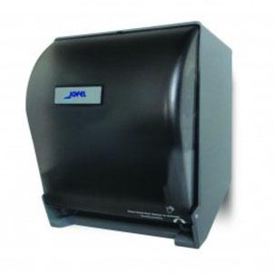 Despachador / Dispensador de toalla en rollo automático PT71010 Color: Transparente con base gris Dimensiones en milímetros: Alto: 365 Largo: 285 Ancho: 245 Capacidad: 1 rollo de 8'' / 20.3 cm Contenido por caja: 1 pieza