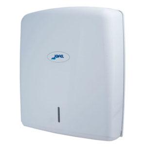 Despachador / Dispensador de toalla interdoblada Z AH37000 Color: Blanco Dimensiones en milímetros: Alto: 278 Largo: 275 Ancho: 130 Capacidad: 600 toallas Contenido por caja: 1 pieza