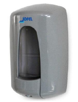 Jabonera Aitana rellenable AC72000 Color: Tapa gris, pulsador y base en gris, vaso transparente Dimensiones en milímetros: Alto: 235 Largo: 130 Ancho: 95 Capacidad: 1000 ml / 33.81 oz Contenido por caja: 2 piezas