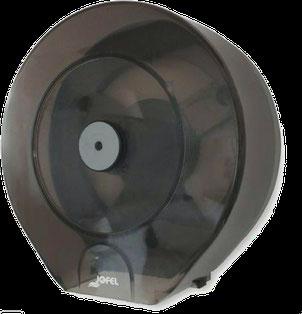 Despachador /Dispensador de papel higiénico maxi PH52310 Color: Transparente con base gris Dimensiones en milímetros: Alto: 355 Largo: 350 Ancho: 145 Capacidad: 1 rollo máximo de 500 m de papel Contenido por caja: 2 piezas