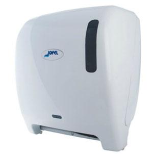 """Despachador  de toalla en rollo automático AG26000 Color: Blanco con base blanca Dimensiones en milímetros: Alto: 366 Largo: 307 Ancho: 233 Requiere 4 pilas alcalinas de 1.5 V tamaño D Capacidad: 1 rollo de 8"""" / 20.3 cm Contenido por caja: 1 pieza"""