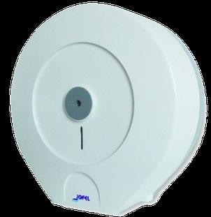 Despachador /Dispensador de papel higiénico maxi PH52300 Color: Blanco con base gris Dimensiones en milímetros: Alto: 355 Largo: 350 Ancho: 145 Capacidad: 1 rollo máximo de 500 m de papel Contenido por caja: 2 piezas