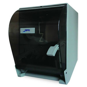 Despachador / Dispensador  de toalla en rollo palanca PT61010 Color: Transparente con base gris Dimensiones en milímetros: Alto: 365 Largo: 285 Ancho: 245 Capacidad: 1 rollo de 8'' / 20.3 cm Contenido por caja: 1 pieza