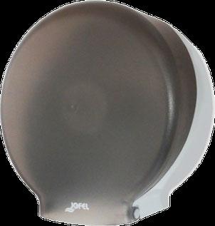 Despachador / Dispensador de papel higiénico maxi PH52002 Color: Transparente con base gris Dimensiones en milímetros: Alto: 360 Largo: 350 Ancho: 130 Capacidad: 1 rollo máximo de 500 m de papel Contenido por caja: 2 piezas